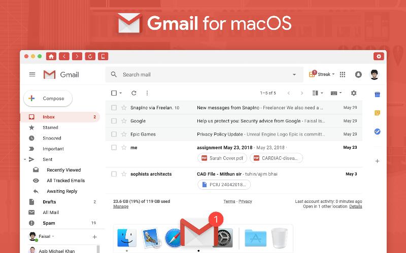 Cài đặt Gmail trên macbook